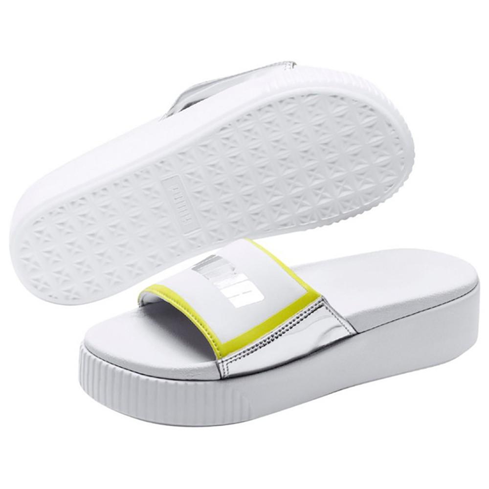 Puma Platform Slide Bold 女鞋 拖鞋 休閒 厚底 白 銀【運動世界】36942101