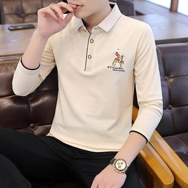 長袖polo衫2021年春季新款有領子t恤男長袖翻領大碼Polo衫青年休閒帶領體恤 雲朵走走