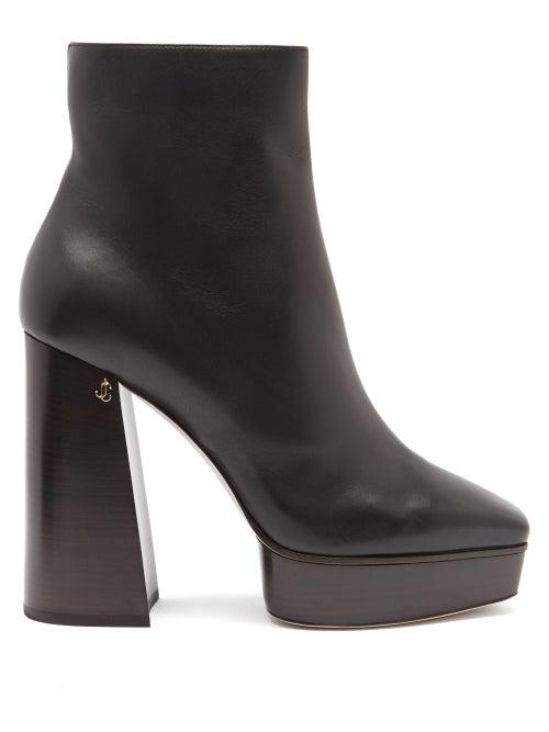 Jimmy Choo - Bryn 125 Leather Boots - Womens - Black