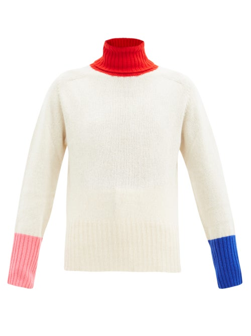 La Fetiche - Roll-neck Colour-block Wool Sweater - Womens - Ivory Multi