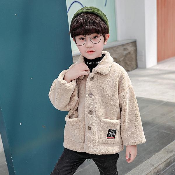 羊羔绒中大童韓版外套 時尚保暖百搭男童外套 兒童裝棉服加絨加厚潮流夾克 秋冬休閑大衣棉衣