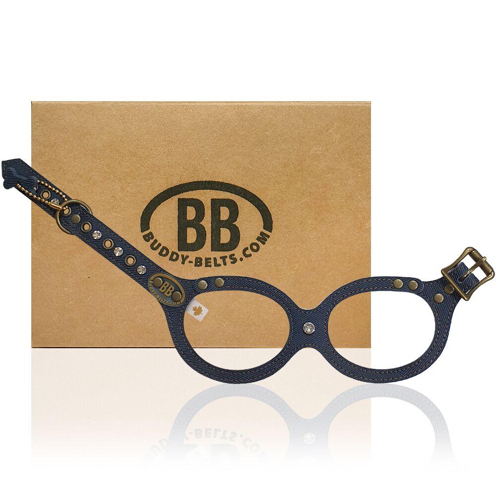 【Buddy Belts】加拿大手工真皮胸背帶-丹寧牛仔-2.5號(水鑽款)