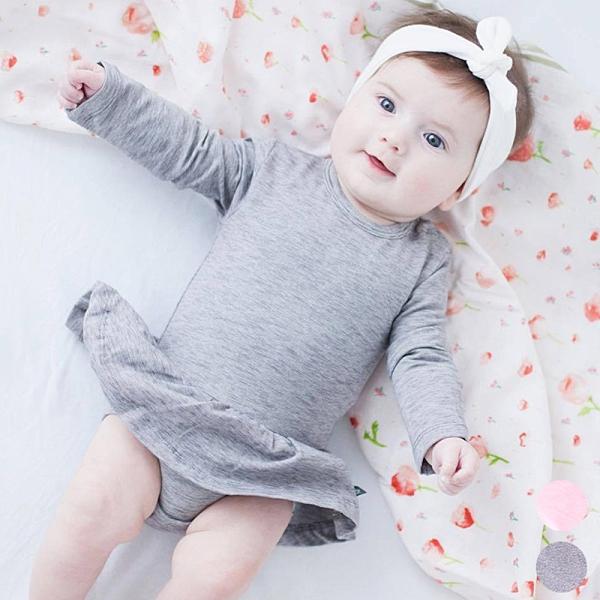 素色裙邊肩扣長袖包屁衣 長袖包屁衣 薄長袖 包屁衣 洋裝 寶寶 嬰兒 童裝 女童 橘魔法 現貨