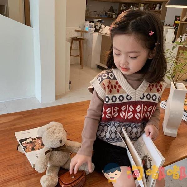 童裝女童背心春秋寶寶外穿兒童針織馬甲小女孩毛衣套頭【淘嘟嘟】