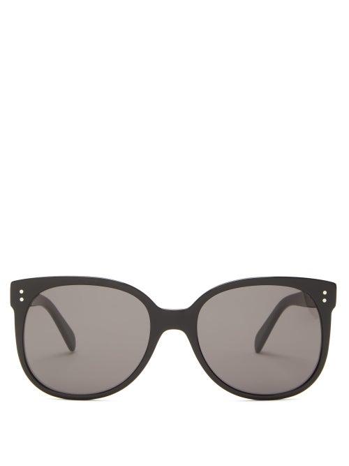 Celine Eyewear - Round Acetate Sunglasses - Womens - Black