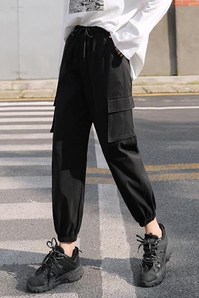 工裝褲 工裝褲女夏季薄款高腰顯瘦黑色九分百搭休閒運動寬鬆束腳哈倫褲 歐歐