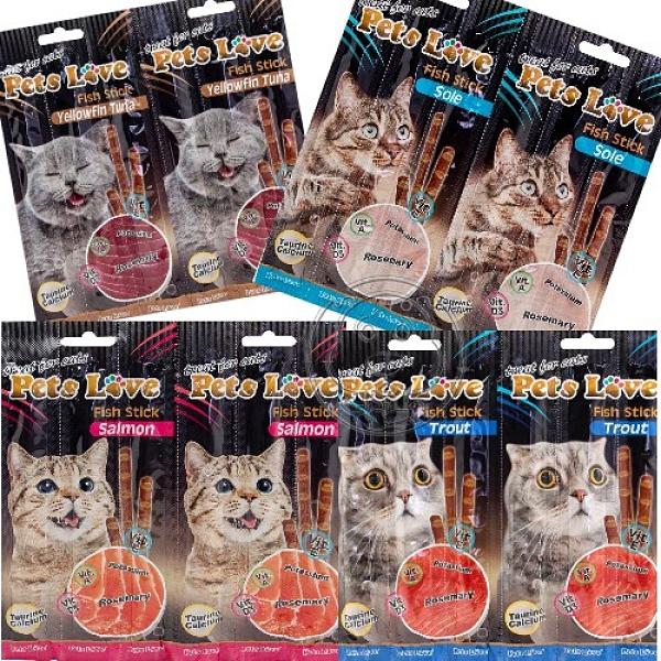 【培菓幸福寵物專營店】Pets Love 阿拉斯加魚肉條 四種口味 單條 貓零食 貓肉條 奧地利原裝進口
