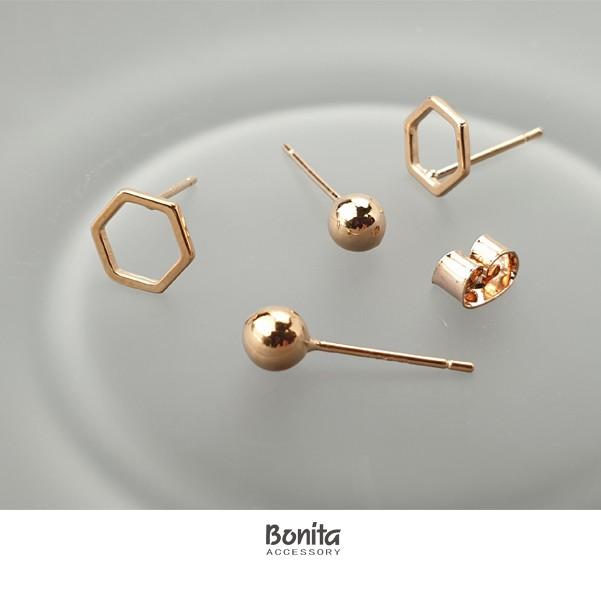 Bonita菱角水玉銀針耳環