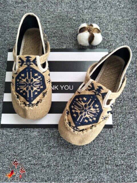 中國風亞麻復古男鞋透氣麻夏季布鞋一腳蹬懶人麻底印花鞋