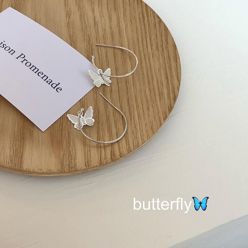 925銀針蝴蝶耳圈氣質百搭韓國個性圈圈耳環 簡約時尚ins風兩戴耳釘 C438
