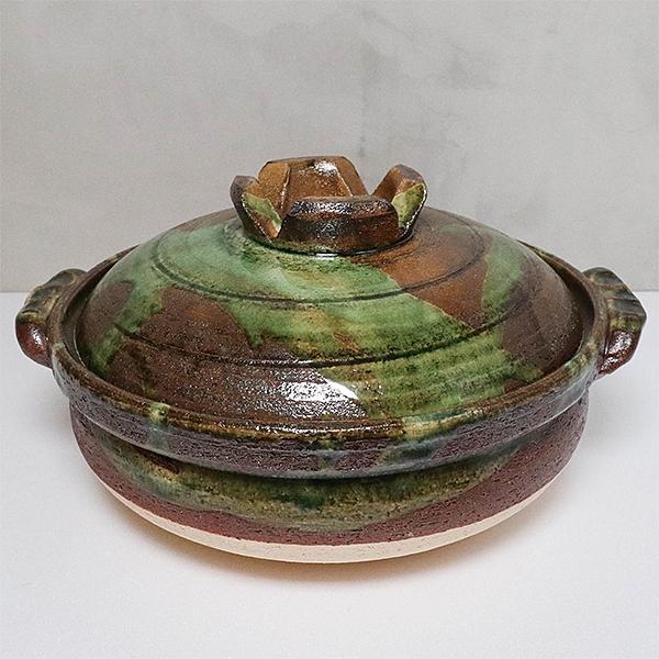 日本陶鍋【萬古燒】綠釉南蠻 10號 土鍋 砂鍋 日本製陶瓷
