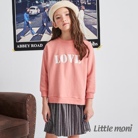Little moni 刷毛假兩件百褶刺繡洋裝(粉紅)