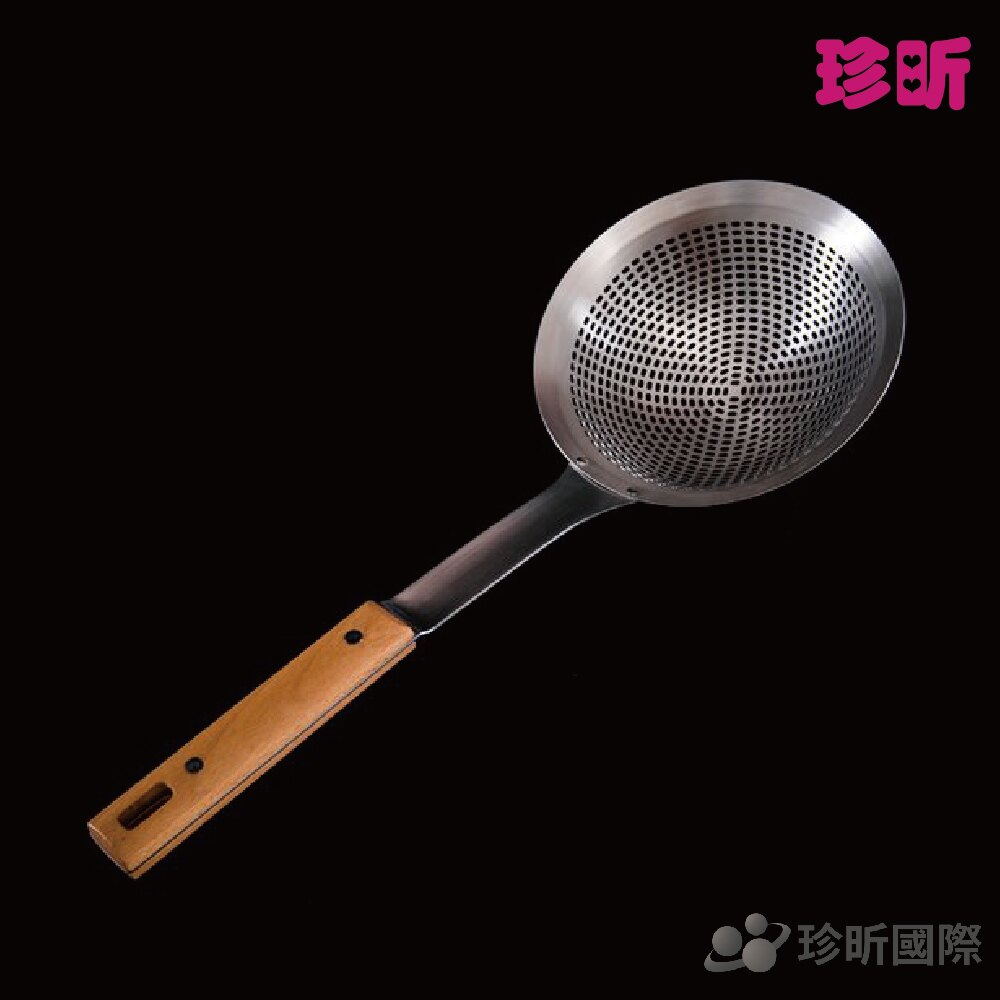 【珍昕】304不銹鋼櫸木方孔漏勺~2種規格(直徑約16CM)(直徑約18CM)/漏勺/櫸木手把/不銹鋼漏勺
