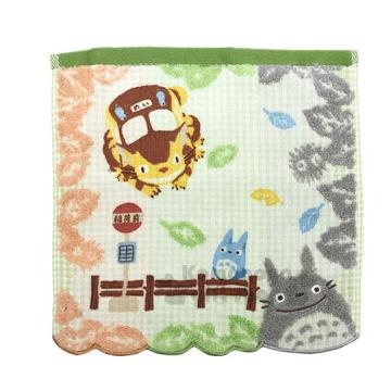 〔小禮堂〕宮崎駿 Totoro 龍貓 純棉小方巾《綠橘.手帕.25x25cm》