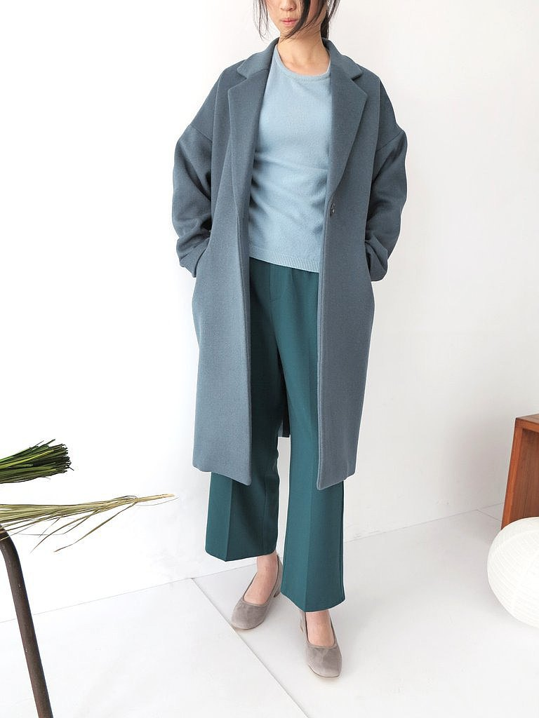 Balsam Coat 灰藍色單扣 cashmere大衣 限量補貨 可訂做顏色