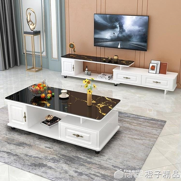 茶幾桌客廳家用簡約現代小戶型機大理石紋鋼化玻璃桌子電視櫃組合 『橙子精品』