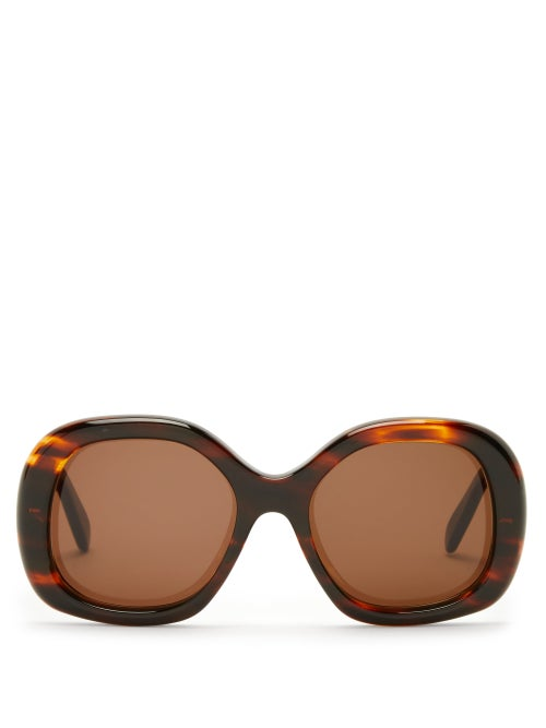 Celine Eyewear - Round Tortoiseshell-acetate Sunglasses - Womens - Tortoiseshell