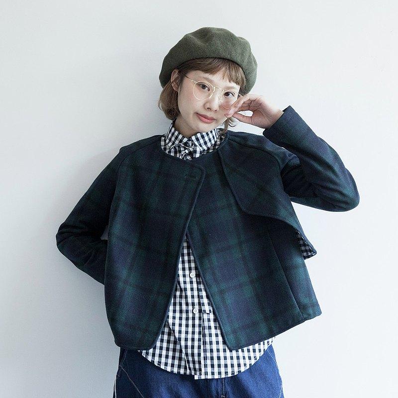 hewu和物 獨立自制女裝日系學院風毛呢短外套 蘇格蘭格子上衣復古