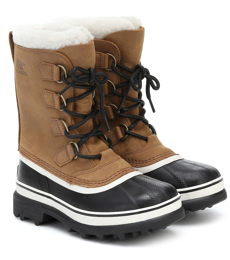 Caribou shearling and nubuck snow boots