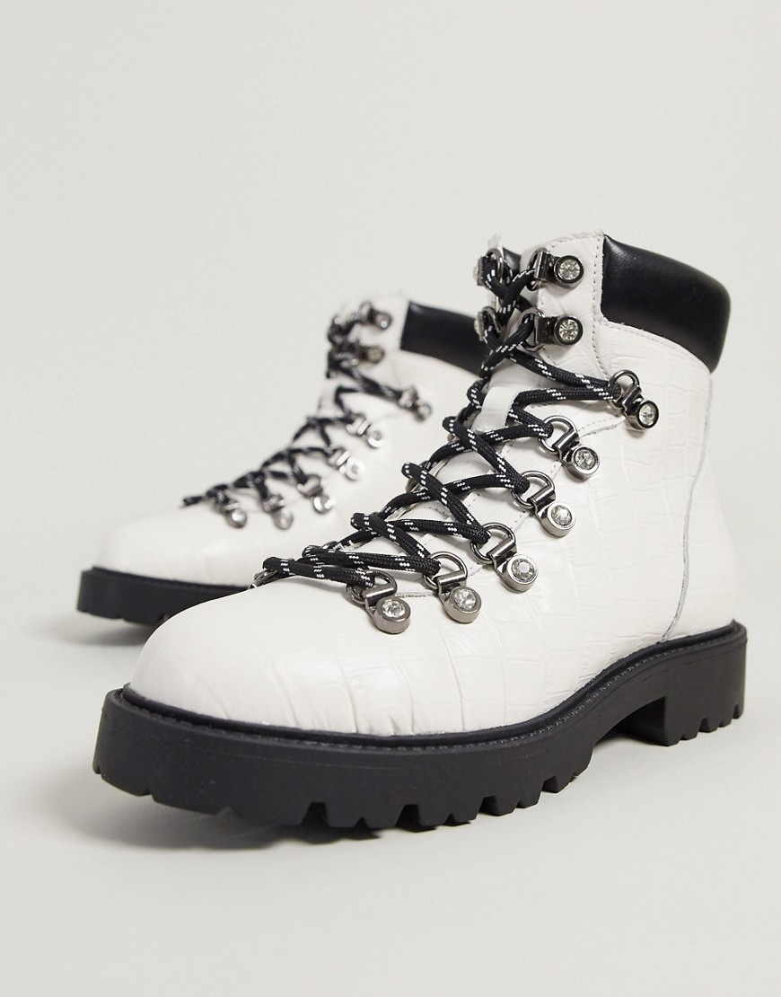 KG by Kurt Geiger timmy hiker lace up ankle boots in white leather