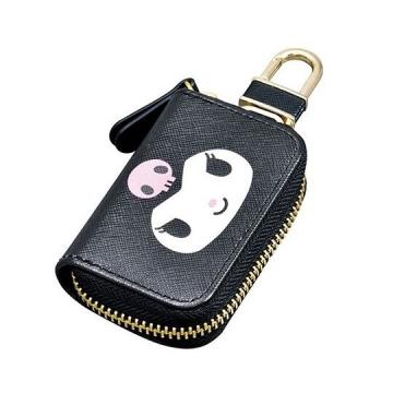 〔小禮堂〕酷洛米 皮質拉鍊鑰匙包《黑紫.掛飾.遙控包》