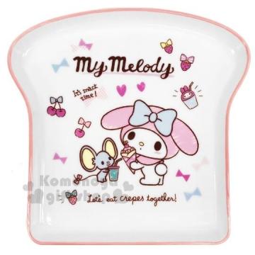 小禮堂 美樂蒂 吐司造型陶瓷盤《粉白》點心盤.沙拉盤