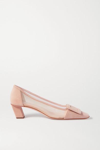 Roger Vivier - Belle Vivier 绒面革网布中跟鞋 - 中性色 - IT40.5
