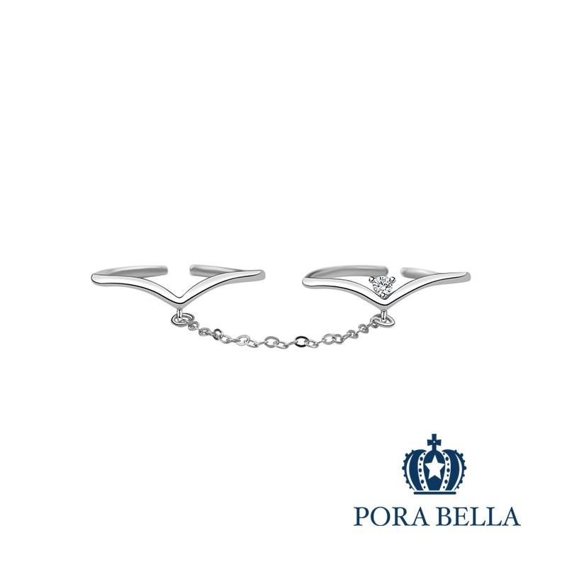 Porabella925純銀鋯石戒指 雙環戒 可調開口式 銀戒 Rings VIP尊榮包裝1件免運