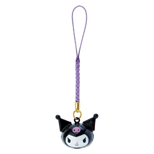 小禮堂 酷洛米 造型鈴鐺吊飾 鈴鐺鑰匙圈 金屬吊飾 (黑紫 大臉) 4550337-76025