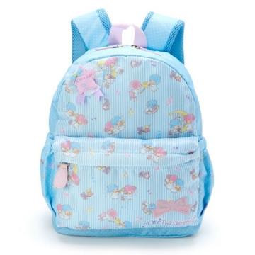 〔小禮堂〕雙子星 兒童尼龍拉鍊後背包《藍白》書包..雲朵音符