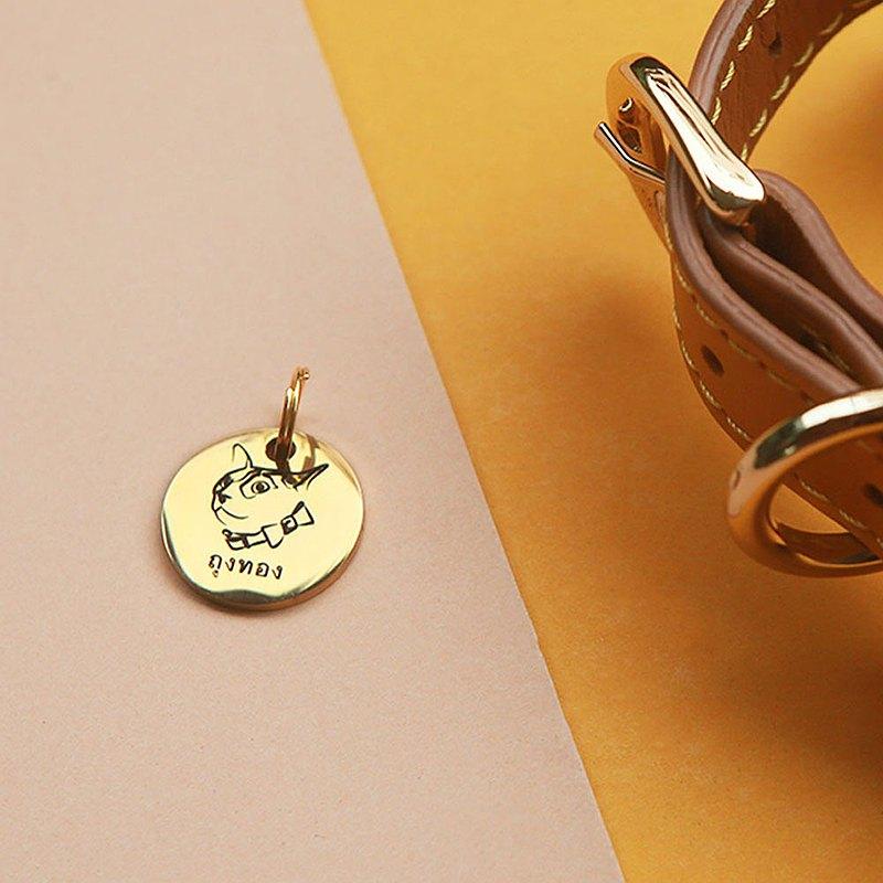 寵物標籤-不銹鋼寵物姓名標籤,厚度,S 20毫米,金色| Mr&Mrs Sniff