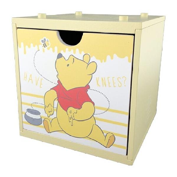 小禮堂 迪士尼 小熊維尼 木製積木盒 抽屜盒 文具盒 桌上型收納盒 (黃 蜜蜂) 4710374-18747