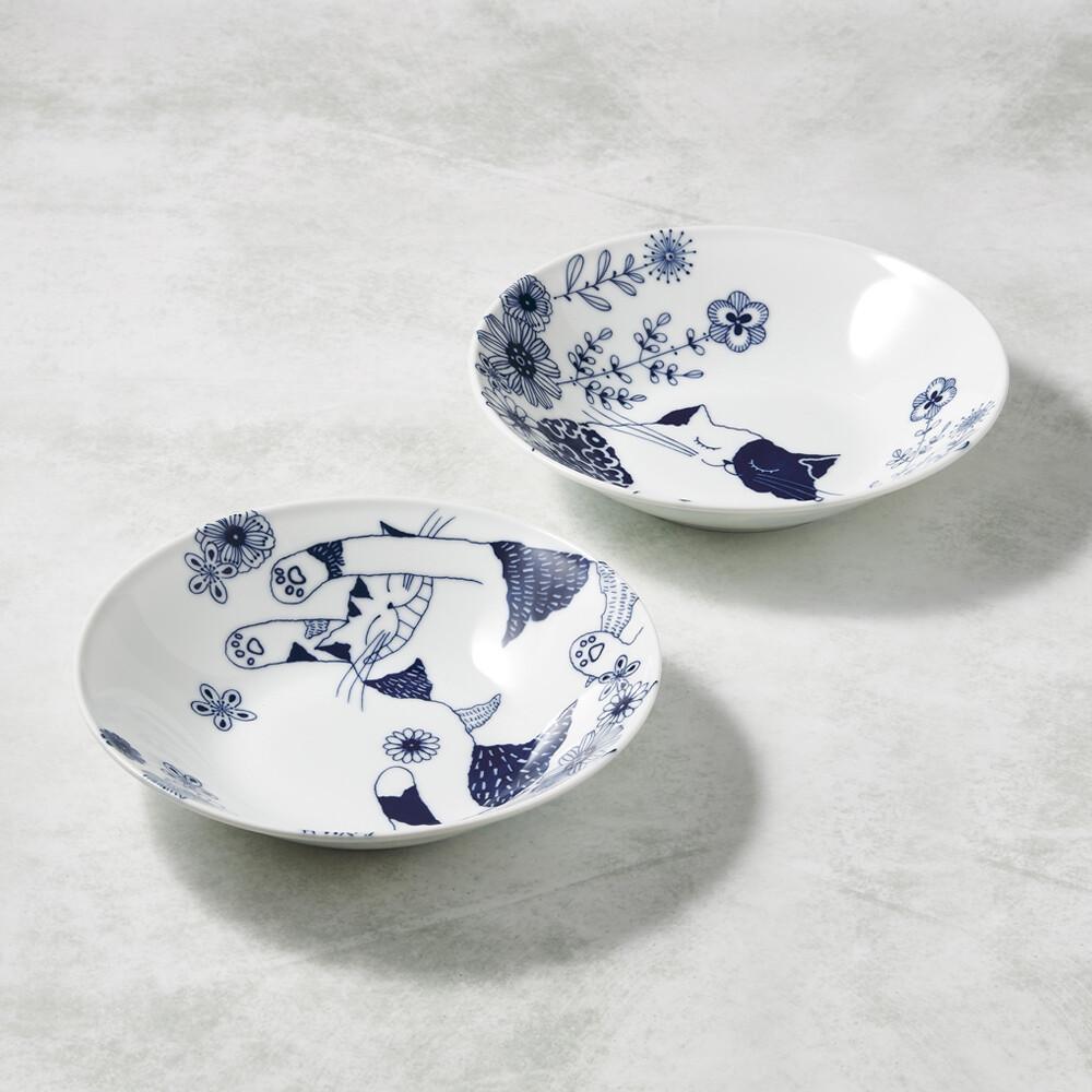 日本美濃燒 - 花園藍貓大圓盤-禮盒組(2件式)