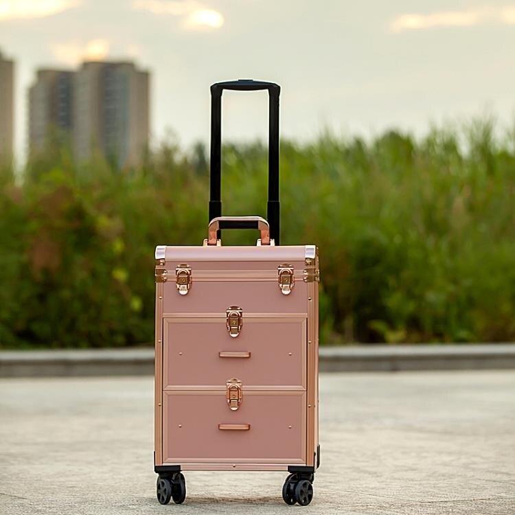 化妝箱 妝百納專業鋁合金拉桿化妝箱跟妝大號容量美容美發美甲紋繡工具箱