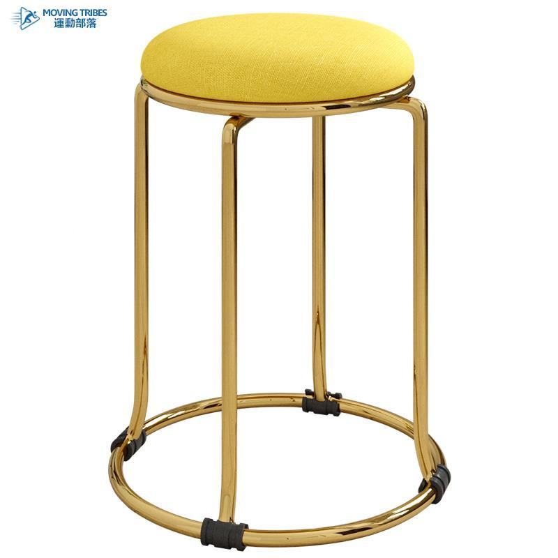 絨布藝歐式鈦金色圓凳子椅子家用時尚簡約創意餐桌凳折疊板凳高凳