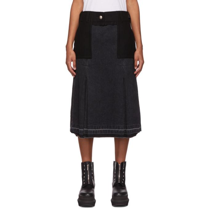 Sacai 黑色拼接半身裙