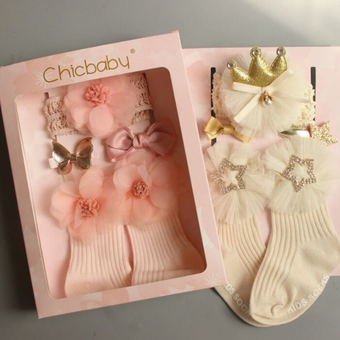 [Hare.D]兒童純棉襪子禮盒 韓國兒童髮飾禮品套装 蝴蝶結髮帶 頭帶髮夾 髮卡襪子