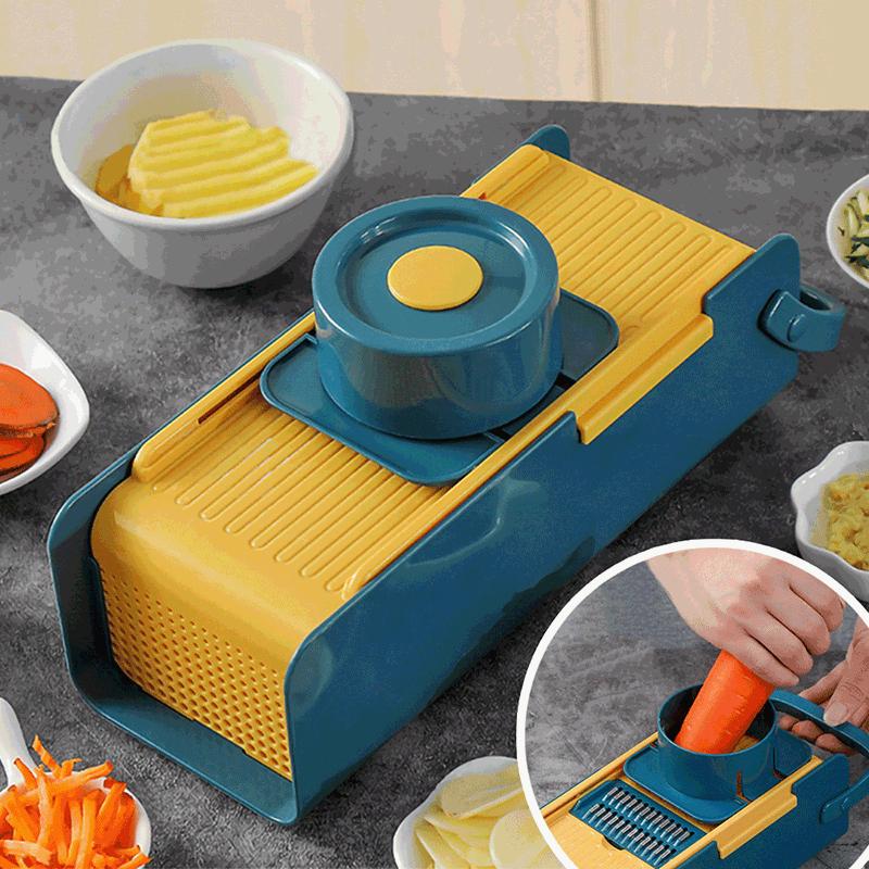 安全護手多功能刨絲切菜器(贈廚房蔥蒜蛋過濾保存2件組)