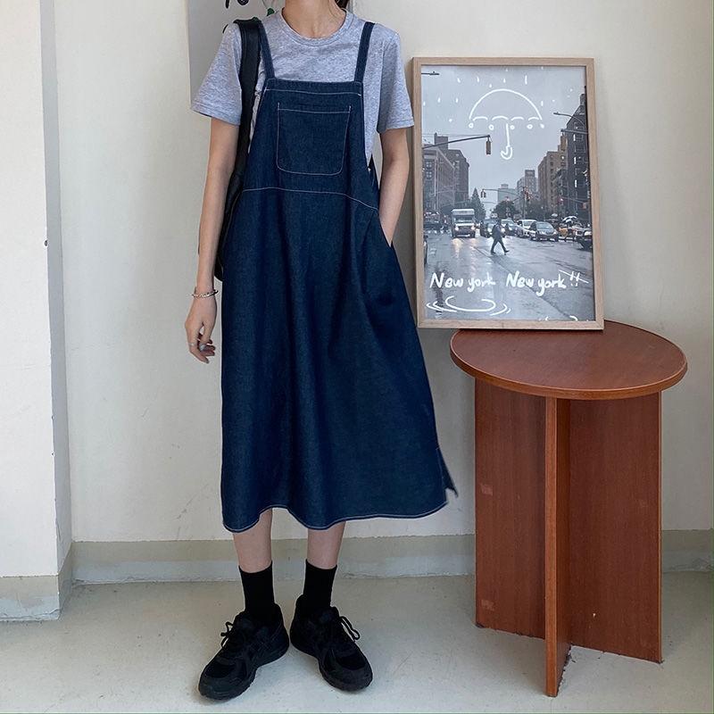 [免運]無袖洋裝裙 189043時尚百搭氣質寬鬆遮肚子顯瘦可愛牛雜背帶裙素色短袖t恤
