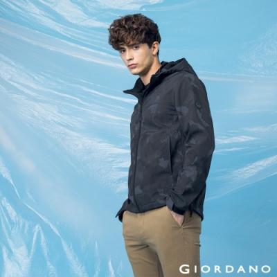 GIORDANO 男裝高機能可拆式連帽外套 - 94 灰迷彩