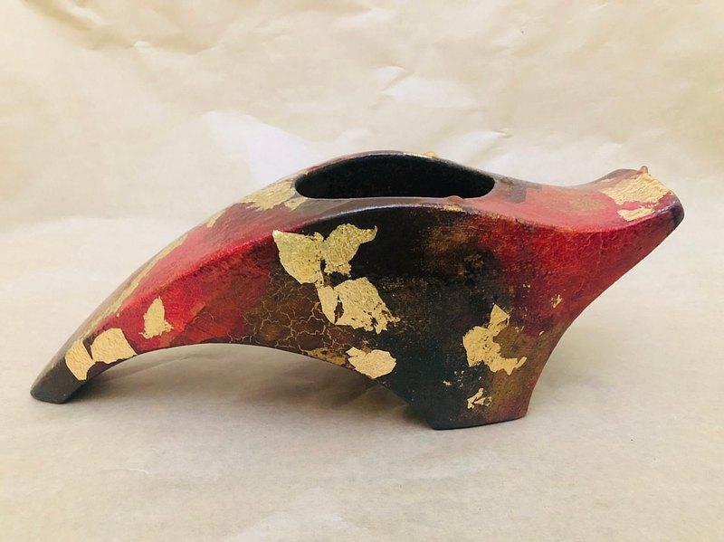 金箔絢紅花器 造型花瓶 陶製 喬遷禮 新居禮 客訂【限量現貨款】