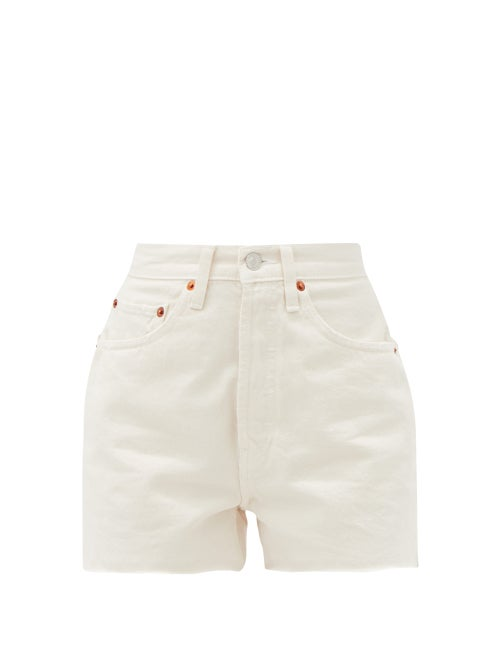 Re/Done Originals - 50s Cut-off Denim Shorts - Womens - Ivory