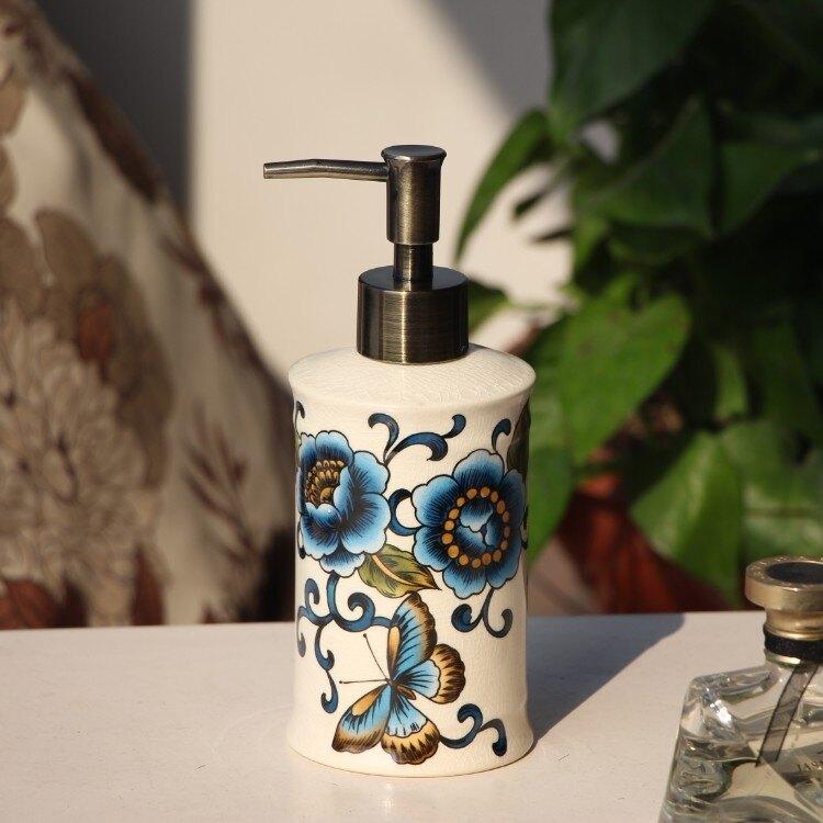 給皂機高檔歐式陶瓷冰裂紋洗手液瓶美式衛生間乳液瓶北歐酒店分裝皂液器 新年促銷
