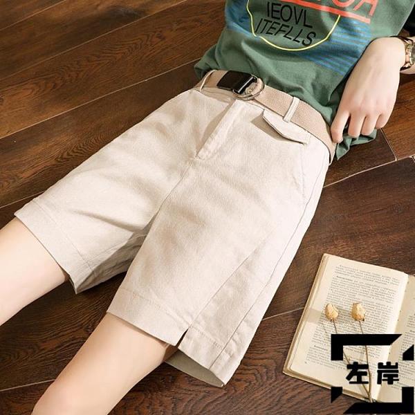 工裝五分褲女夏高腰寬鬆褲子闊腿外穿短褲女休閒褲【左岸男裝】
