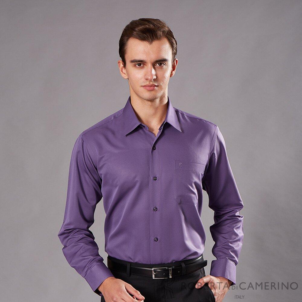 ROBERTA諾貝達 台灣製 經典呈現 條紋長袖襯衫 深紫