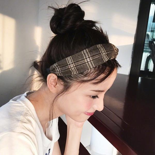 Qmishop 韓版髮帶 英倫學院風格子條紋髮帶 百搭日系簡約交叉鬆緊頭帶髮箍【G2565】