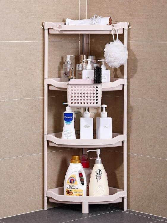 浴室置物架衛生間轉角免打孔三角形架落地盆架廁所塑料儲物收納架ATF 萬聖節鉅惠