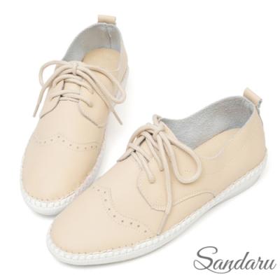 山打努SANDARU-真皮柔軟雕花綁帶休閒鞋-米