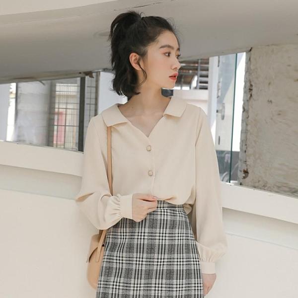 雪紡上衣 白襯衫女士設計感小眾襯衣上衣長袖秋款雪紡黑色外穿百搭韓國簡約 源治良品