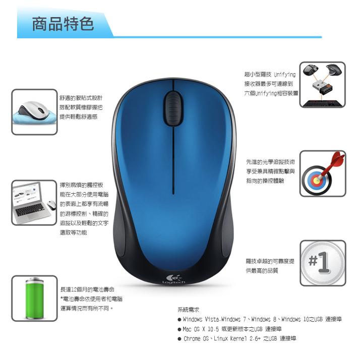 logitech M235 第二代無線滑鼠 羅技 滑鼠 無線滑鼠 服貼造型設計 先進光學追蹤技術